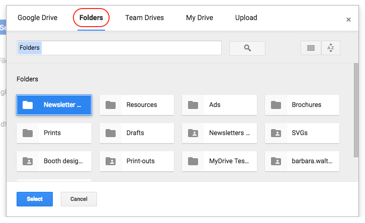 Embedding a google drive document or folder on a confluence page then choose the folder you want to display on your confluence page and click select stopboris Images