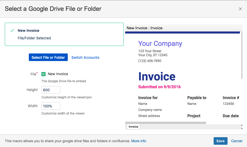 Embedding a Google Drive Document or Folder on a Confluence Page