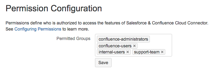 Configuring Permissions - Salesforce & Confluence Server Connector