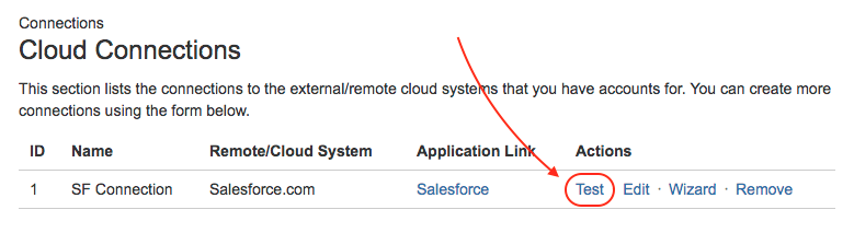 Testing a Connection - Classic Connector for Salesforce & Jira