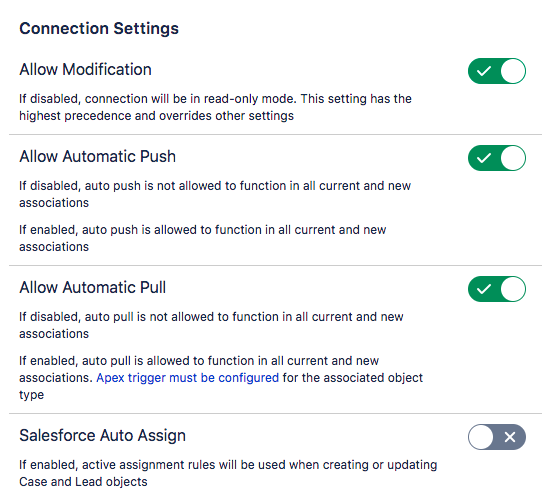 Configuring connection settings - Connector for Salesforce & Jira