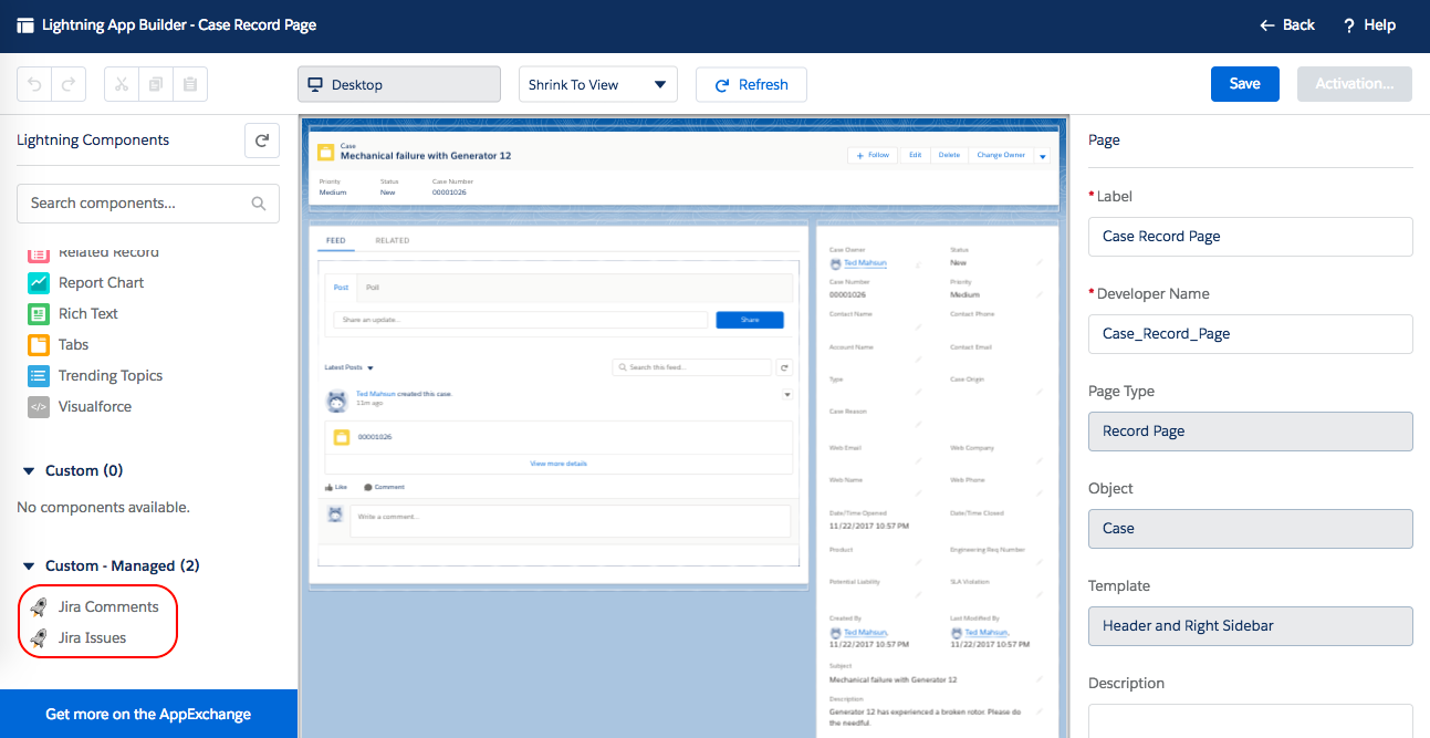 Configuring Lightning Experience components - Connector for
